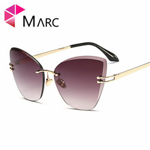 MARC Eyewear designer sunglasses Clear Oculos Cat eye Gradient Rimless Brand Butterfly Polycarbonate Women Trend fashion UV400
