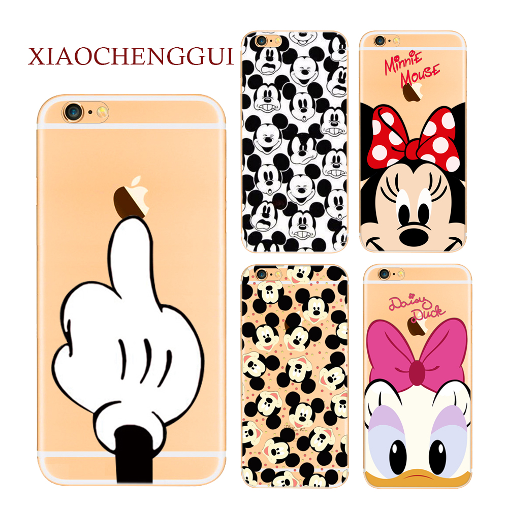 Soft Silicone Case for iPhone 5 5S SE X 6 6S 7 8 Plus Cute Cartoon Minnie Mickey Mouse Donald Phone Cover TPU Shell