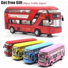 1:32 звук и светильник из металлического сплава двухэтажный Тур Лондонский Городской автобус задний автомобиль Детский Рождественский подарок с дорожными знаками