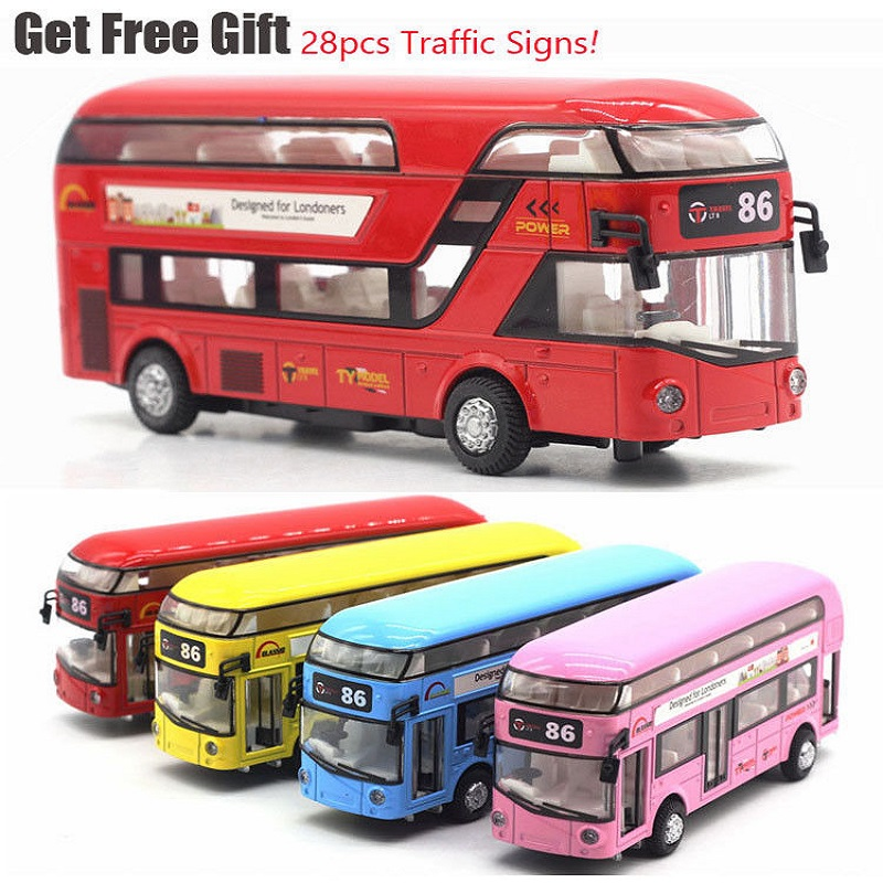 1:32 Sound And Light Metal Alloy Double-Decker Tour London City Bus Pull Back Car Kids Christmas Gift With Road Signs