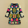 Europe Fashion 2016 Autumn Newest Cotton O-Neck Single Breasted Full Sleeve ColorFull Pattern Print Casual Wool Long Coat Women