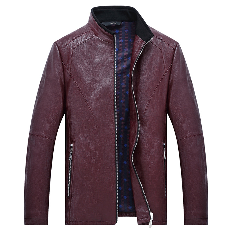 MSAISS 2017 New Spring Men's Brief Paragraph Coat Leisure Men's Collar Leather Jacket Large Size Black Men's Leather Jacket