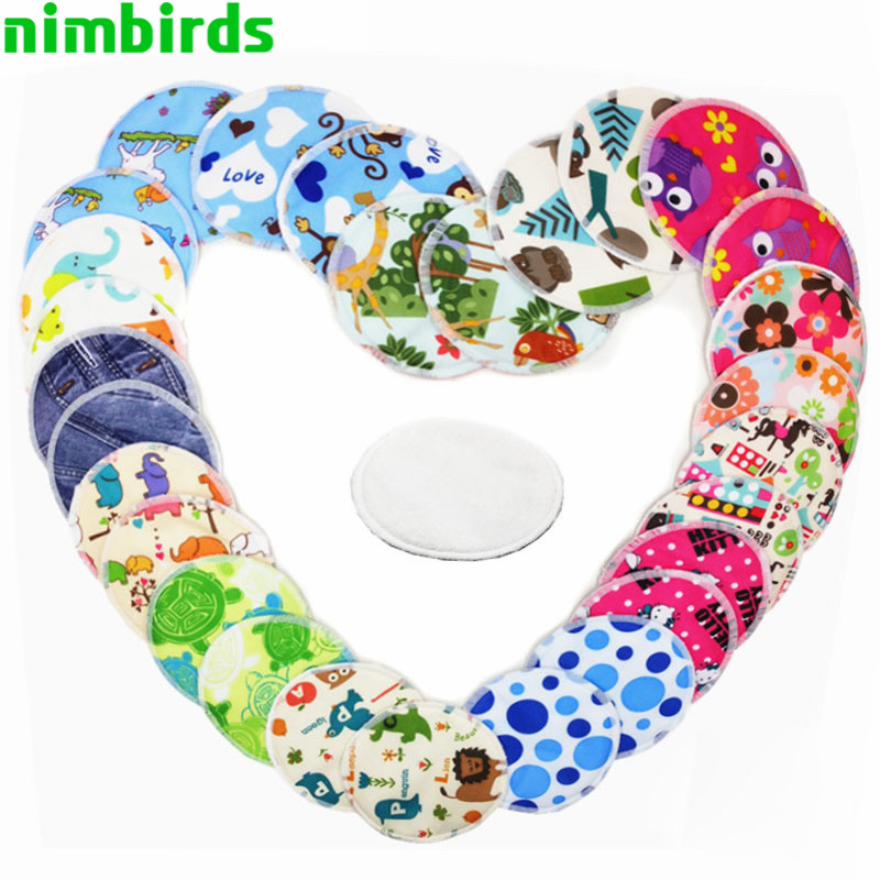 10 Pcs Nursing Pads Reusable Breast Pads Waterproof Printed Breast Absorbent Nursing Feeding Pad,12cm ,Bamboo Inner Nursing Pads