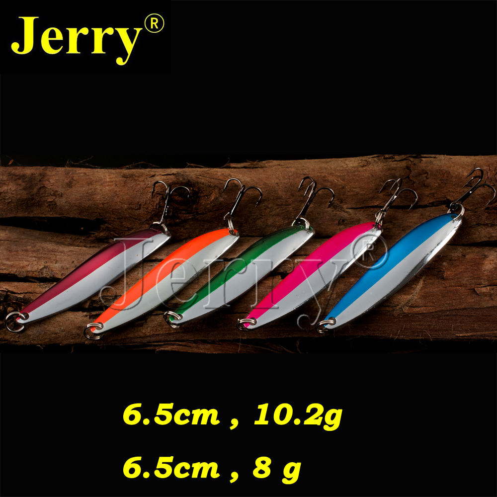 Jerry 5pcs 8g 10g pesca long narrow casting spoons multiple colors pike salmon zander flutter fishing spoon lure artificial bait