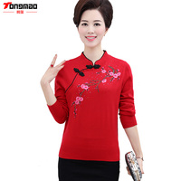 Autumn Full Women Pullovers Embroidery Floral Wool Casual Slim Middle Aged Cheongsam Collar Chinese Style Sweater