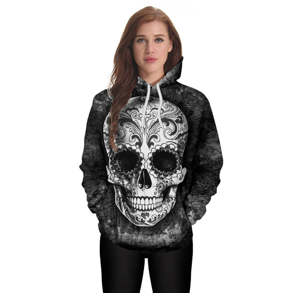 Punk Style Loose female Pullovers Hoodies Women Sweatshirts 3D Skull Pattern Print Halloween Lady Hoody Sweatshirt Plus Size