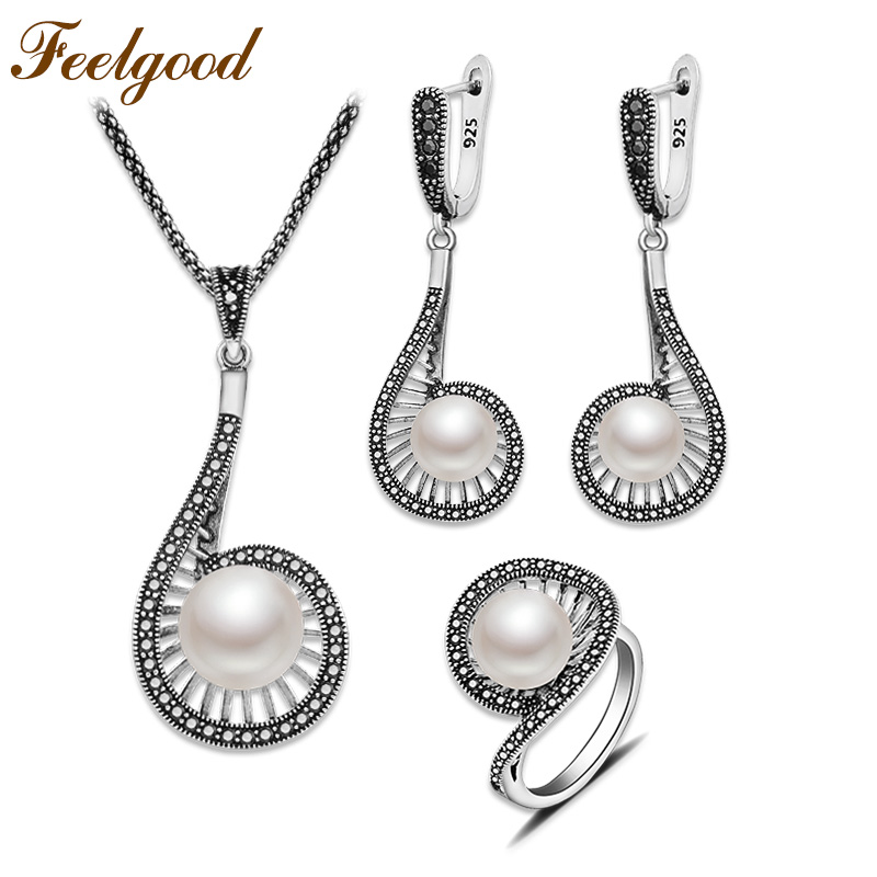 Feelgood Imitation Pearl Jewelry Set Unique Design bijouterie Women Luxury Vintage Silver Color Necklace Earrings Ring Sets dr feelgood