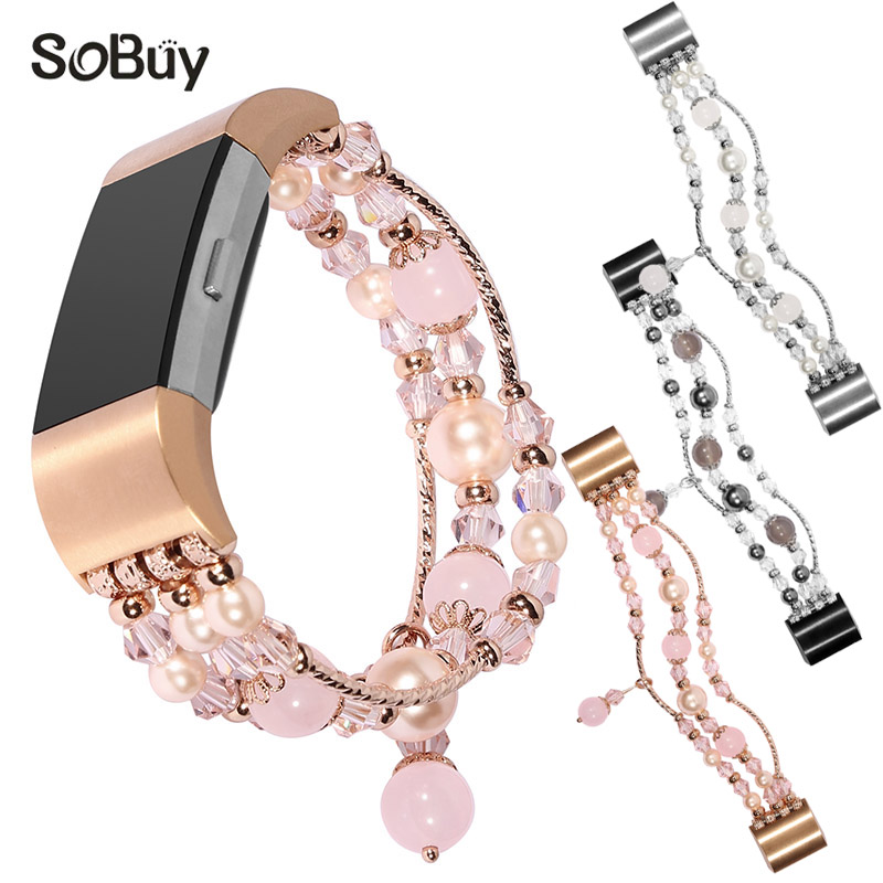 So buy for Fitbit Charge 2 metal strap Female jewelry bracelet charge2 watch bands Agate gemstone wrist strap woman fitbit band