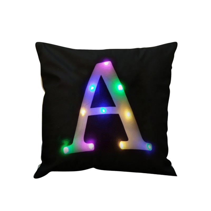 LED Lights Letter Alphabet Printed Home Sofa Car Office Pillow Cotton Linenr Pillowcase Decorative Pillows Cushion cover Use