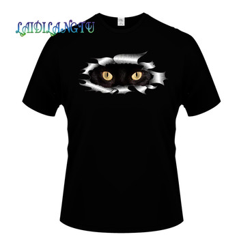 Funny Lovely Black Cat Eyes Peeking Short Sleeve T Shirt O-Neck Men T-Shirt Simple Tops Homme T Shirts