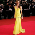 2015 Hot  New Women Sexy Yellow V Neck Spaghetti Strap Long Chiffon Dress Party Dress Celebrity Dresses