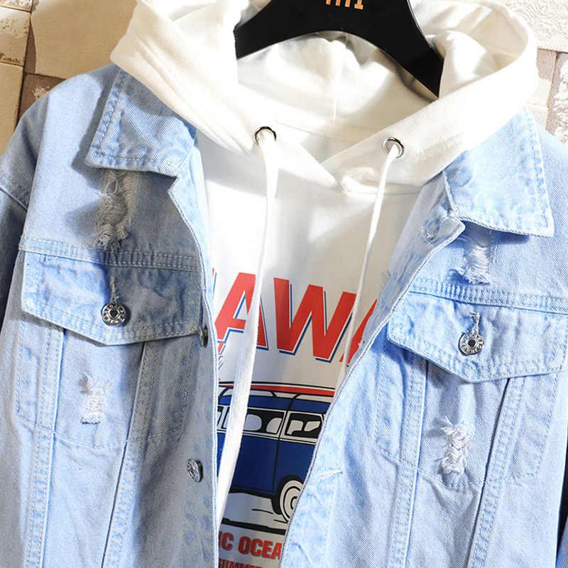 2019 新デニムジャケット男性のヒップホップメンズカジュアル爆撃機ジャケットファッションコート原宿ジャケットストリートレトロデニムジャケット穴固体