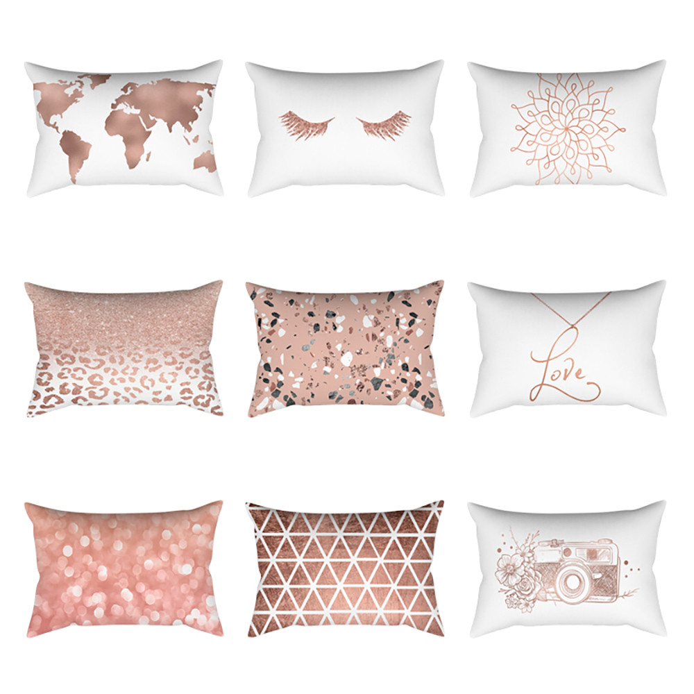 Decorative Cushion Case Throw-Pillowcases Sofa Linen Bedroom Rose-Gold Pink Minimalist title=