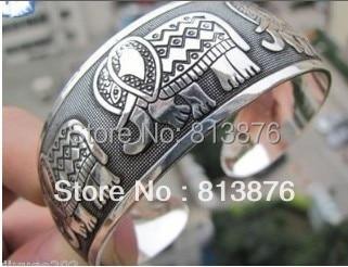 Novo tibetano tibete prata Totem Bangle Cuff Bracelet XY