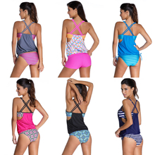 Plus Size Striped Tankini Swimsuit Double Up Sport Swimwear Women Student Two Piece Swimwear Bikini Set Tank Top 2 Piece Suits