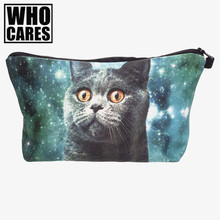 Galaxy blue cat 3D Printing cosmetic bag women makeup bag who cares 2016 neceser para mujer trousse de maquillage pencil case