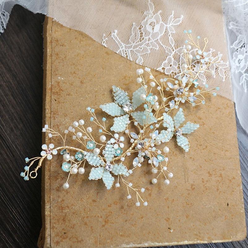 Light Blue Color Bridal Hair Accessories Wedding Hair Jewelry Crystal Beads Headdress Girl s Tiaras Headpiece