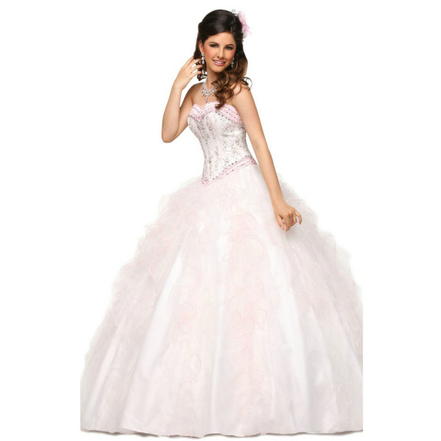 122fed7ff6d light pink quinceanera dresses 2017 Cheap Crystal Ball Gowns Lace Up Prom  Dress for 15 years Floor Length Custom Made