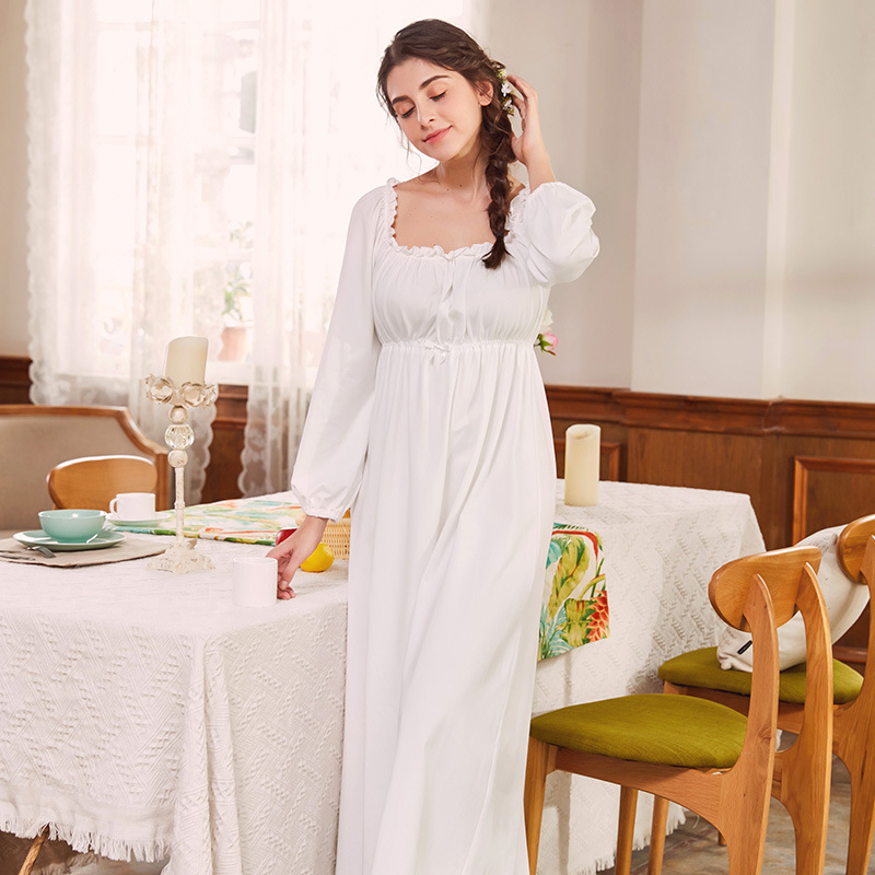 New Maternity Nightgown Retro Palace Princess Women Sleepshirts 100% Cotton Pregnant Sleepwear White Home Sleepwear CA481 new 2018 children cloth 3d print autumn sleepwear rn 9 girls baby cotton girl sleepwear dress kids party princess nightgown
