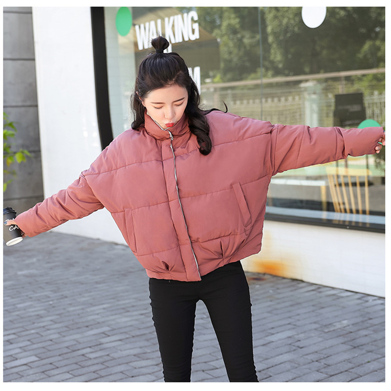 Stand Women Jacket Sha black Breasted Basic H154 Outerwear Solid rhodo Winter Short Coat Parkas New red Female Buttons Hong duo Beige 2018 Inverno Collar Casaco qx05wp8g8