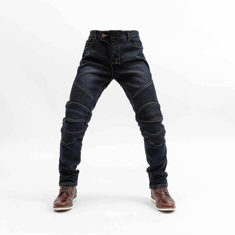 Classic Motorcycle Jeans Drop Resistance Slim Denim Cycling Racing Pants Motocross Off-road Hockey Pants with velvet for winter aboorun new mens pu patchwork slim fit jeans fashion skull rivet pencil denim pants with zippers for men b052
