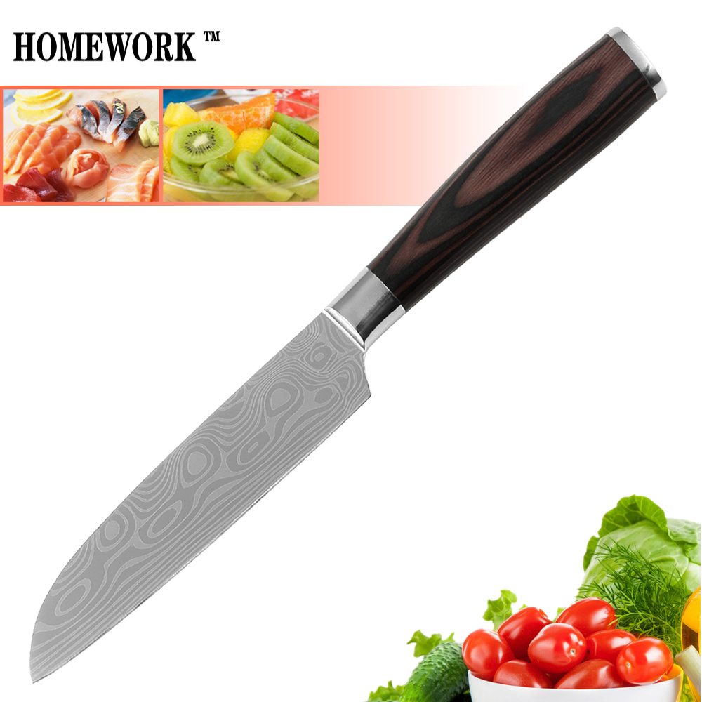 Us 16 83 Hot Sale Kitchen Knife Stainless Steel Blade 5 Inch Santoku Knife Best Laser Technology Wave Pattern Cooking Knife Good Quality In Kitchen