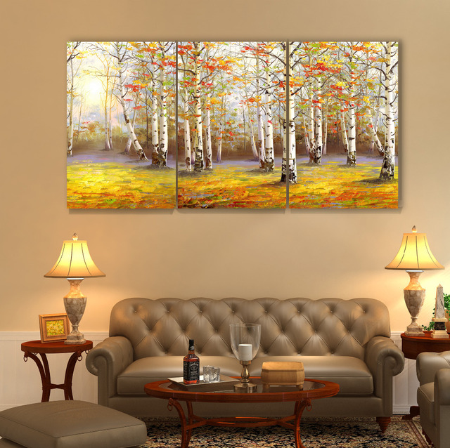 Birch forest in fall Decoracion Canvas Printings Wall Pictures For ...