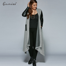 Plus Size PU Leather Trim Longline Asymmetrical Coat Jacket  XL-5XL