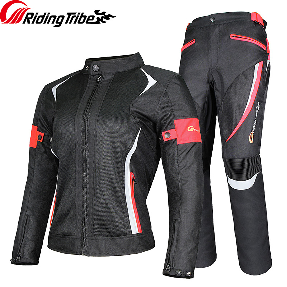 Riding Tribe Motorcycle Woman's Jacket Pants Suit Summer Waterproof Moto Racing Clothes Reflective Protective Armour JK-52