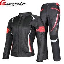Equitazione Tribe Moto Giacca della Donna Vestito di Pantaloni di Estate Impermeabile Moto Che Corre I Vestiti Riflettenti di Protezione Armatura JK-52