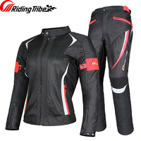 Riding Tribe Motorcycle Woman's Jacket Pants Suit Summer Waterproof Moto Racing Clothes Reflective Protective Armour JK 52