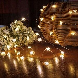 Звездная Светодиодная лента, декоративная медная световая нить 4 м на батарейках, Рождественская Снежинка для украшения спальни вечерние в...