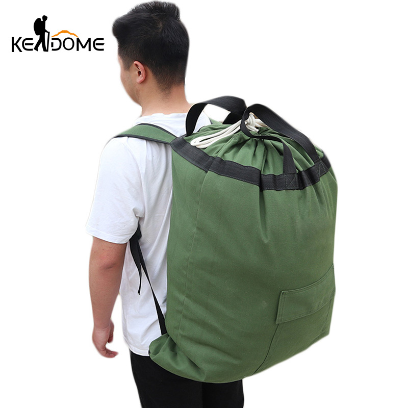 Large Men Military Backpack Canvas Bag Bucket Rucksack Travel Camouflage Drawstring Hiking Camping Mountaineering Balso XA148D
