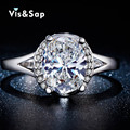 White gold plated ring 2ct CZ diamond Rings For women Oval stone fashion jewelry vintage Wedding engagement ring Bijoux VSR256