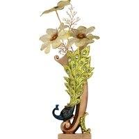 ヨーロッパレトロ孔雀花瓶金属合金ゴールド/ブロンズ小さな花瓶現代のテーブルjardinieクリエイティブホーム装飾花ボトル