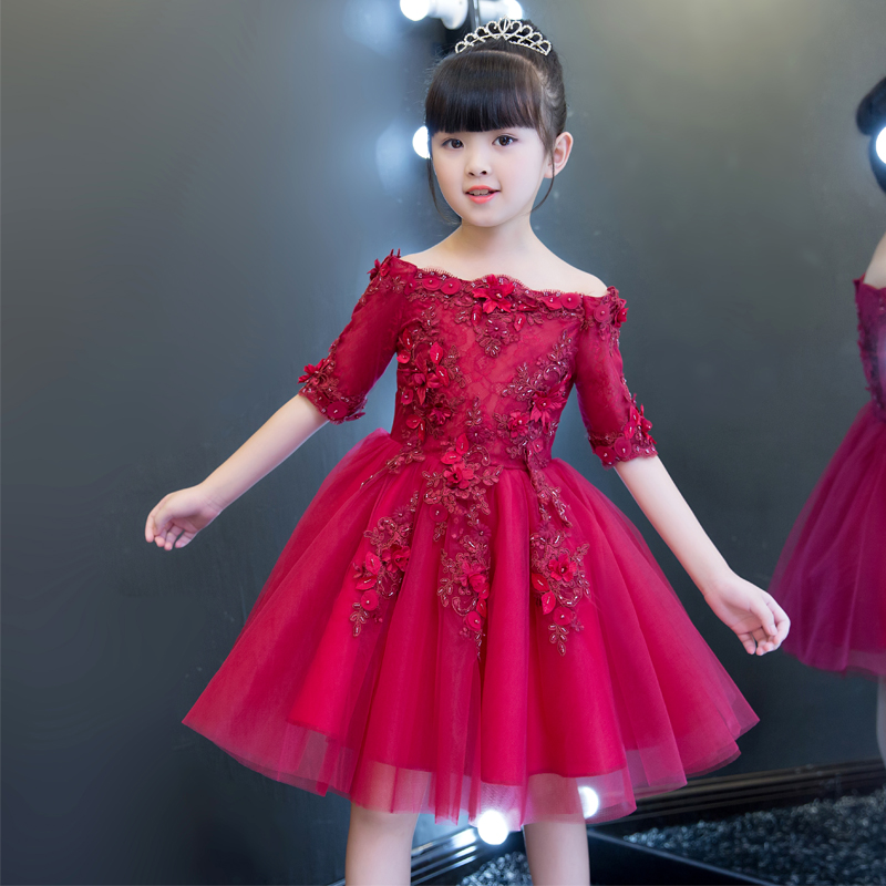 Children Girls New Wine-Red Color Birthday Wedding Ball Gown Mesh Dress Kids Evening Party Costume Pageant Model Show Dresses