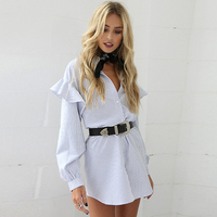 Lantern Sleeve Blouse Shirt Women Long Stripes Blue Ruffle Cute Trendy Tops Victorian Babydoll Navy Woman