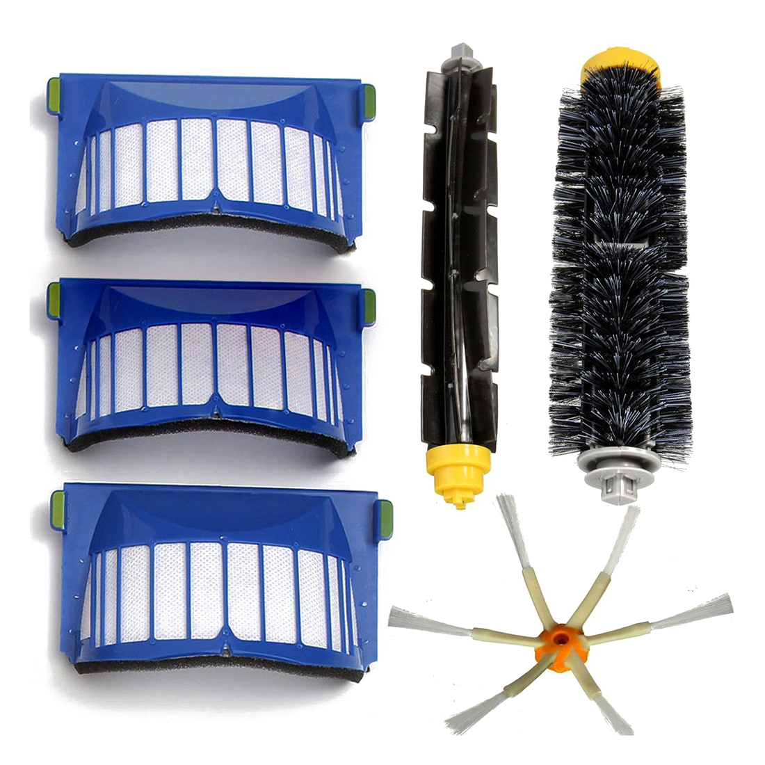 Filter+Brush 3 armed Side for Aero Vac iRobot Roomba 600 Series 620 630 650 6660 aero vac filter bristle brush flexible beater brush 3 armed side brush tool for irobot roomba 600 series 620 630 650 660