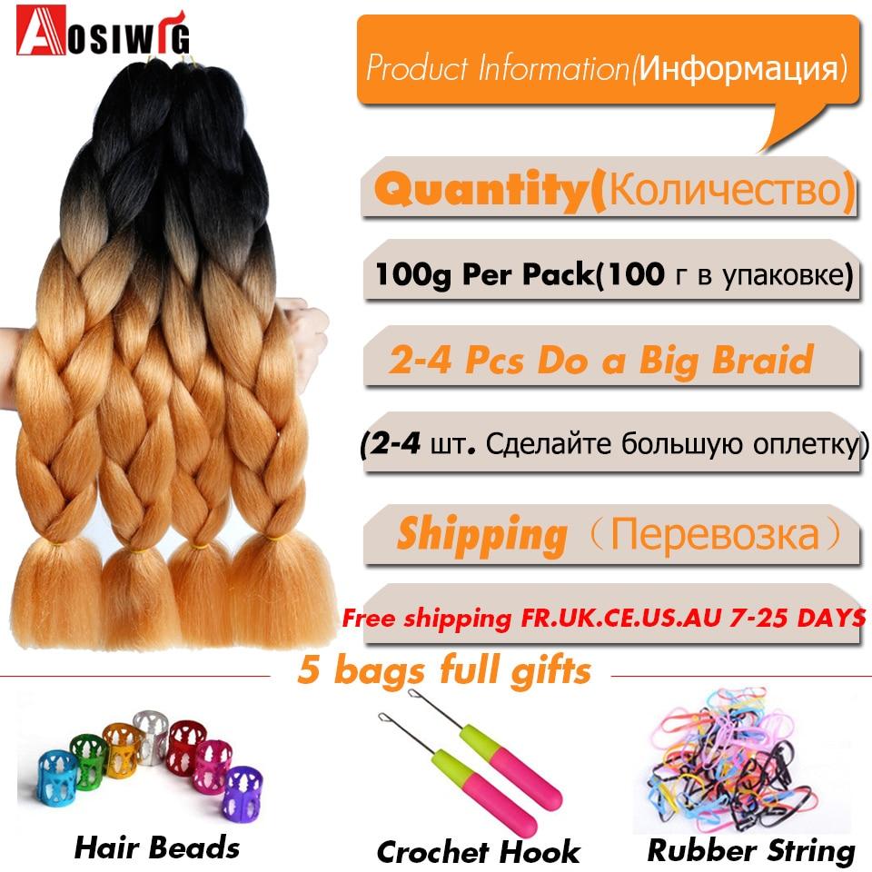 AOSIWIG 24 '' 100g / pc Syntetisk Ombre Kanekalon Braiding Hair - Syntetiskt hår - Foto 2