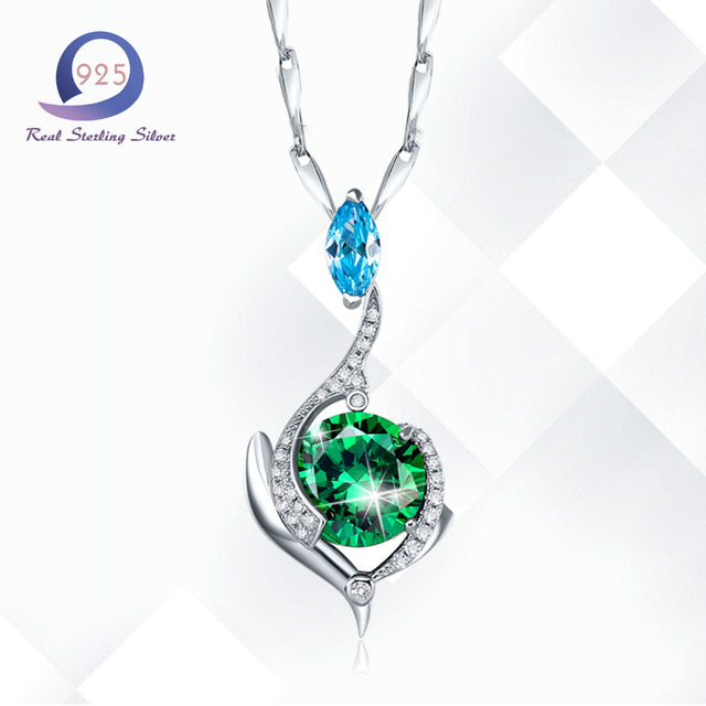 Merthus 925 sterling silver chain necklace mystic green lab created merthus 925 sterling silver chain necklace mystic green lab created emerald pendant necklaces charm women mozeypictures Image collections