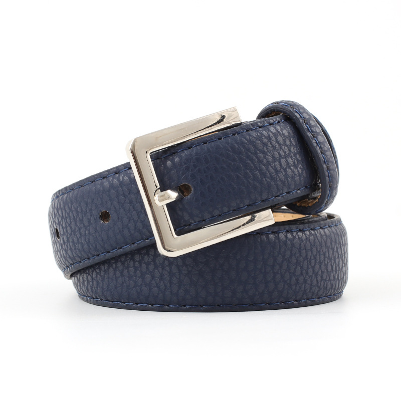 451a9d96a 2019 New Designer Ladies Navy Blue Black White Wide Leather Belt Female  Silver Pin Buckle Strap