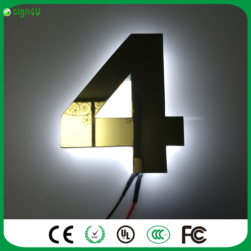 ФОТО Hotel use outdoor gold metal backlit LED house number sign hotel room number signs