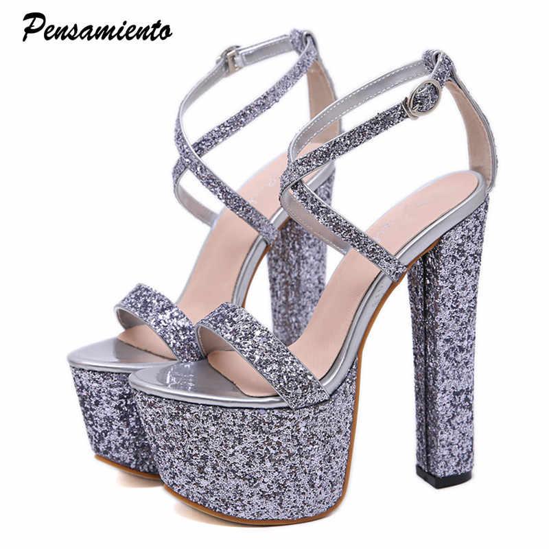 9dc035a90b3 17cm Ultra high heels Women Sandals Bling Sequined Platform wedge ...