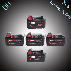 5PCS 5000mAh 18V Replacement Power Tool Battery for Milwaukee M18 XC 48-11-1815 M18B2 M18B4 M18BX Rechargeable Lithium Ion Packs