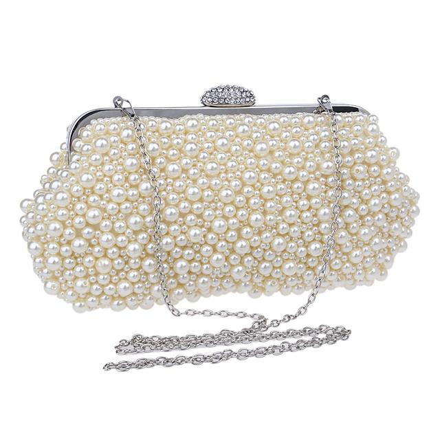 Women messenger beaded women vintage evening bags imitation pearl shell women bag shoulder bags,diamonds clutch bag for wedding