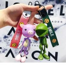 Creative cartoon funny long leg frog cute fox pig doll keychain men and women bag accessories car key chain ring pendant цены