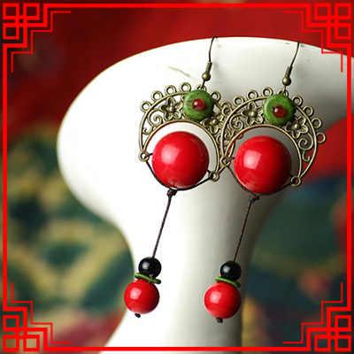 Big star ทำด้วยมือลมจีนสีเขียว dangle ต่างหู, Original ชาติพันธุ์เครื่องประดับหินต่างหู vintage ใหม่เจ้าสาวต่างหู,