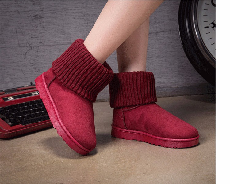 KUYUPP Patchwork Knitting Wool Women Snow Boots Winter Shoes 2016 Flat Heels Warm Plush Ankle Boots Slip On Womens Booties DX119 (15)