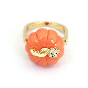 Image 4 - Orange Color Pumpkin Ring Elegant Noble Luxury Jewelry Enamel Glaze Ring bague Aneis