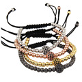 Men Bracelets,Gold Plated 1pcs Beads 8mm Micro Pave Black CZ Beads Briading Macrame Bracelet Pulseira Feminina